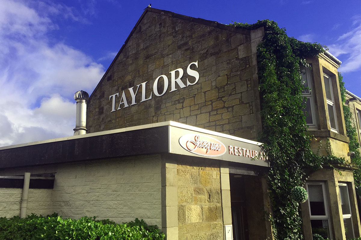 Taylors Signage using chrome cut lettering